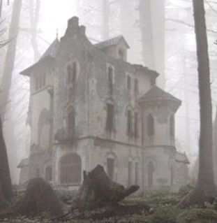 abandoned house in fog