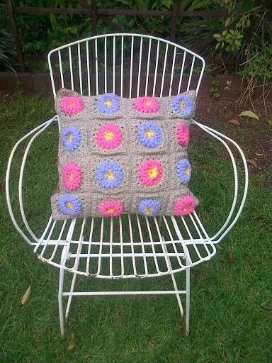 Crochet pilloe flower design