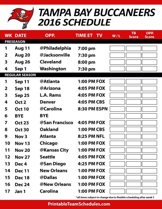 Tampa Bay Buccaneers Football Schedule. Print Schedule Here - http://printableteamschedules.com/NFL/tampabaybuccaneersschedule.php