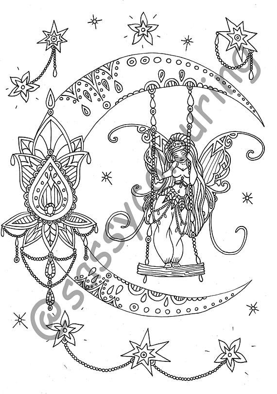 An Etsy page from Sassy Colouring - stunning Fairy