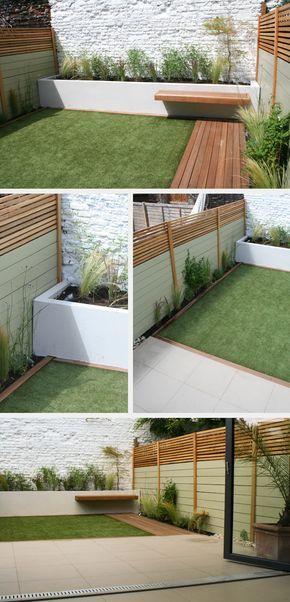 Terraza con #cespedartificial, un bordillo de madera, jardineras de obras y vallado combinado madera compuesta y madera natural