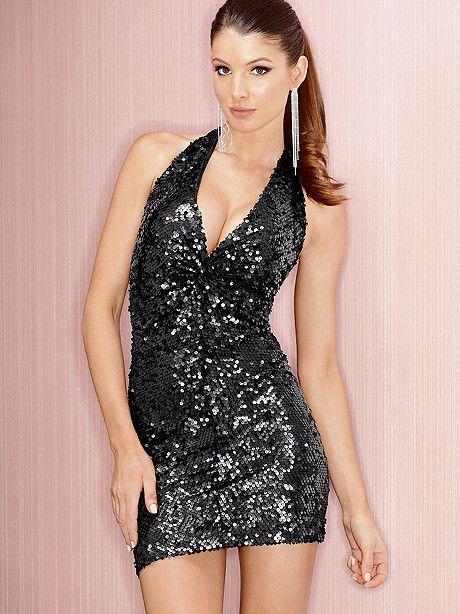 Twist Front Sequin Halter Dress - sassy - Pinterest - Twists ...