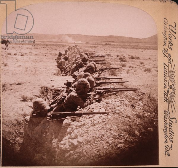 British Soldiers Firing on the Boers from Trenches at Honey Nest Kloof, South Africa, Second Boer War, 1901