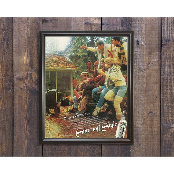 Sports Bar Decor | Smirnoff Friends Advertisement | Den Unique Wall Art| Vodka 70s Advertising | Cabin Woods Ad | Retro Kitchen & Bar Print by RetroPapers