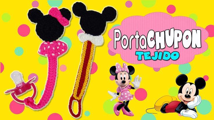 Porta chupón Tejido a crochet Mickey mouse y Minnie mouse