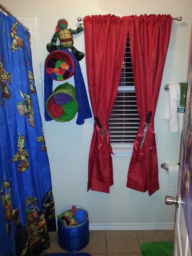 Awesome Tmnt Bathroom Decor. Look At The Curtain Tiebacks!