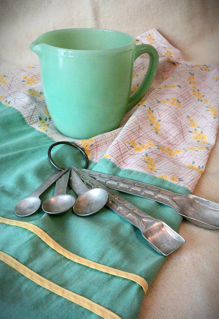 '40's apron, jadite pitcher, measuring spoons