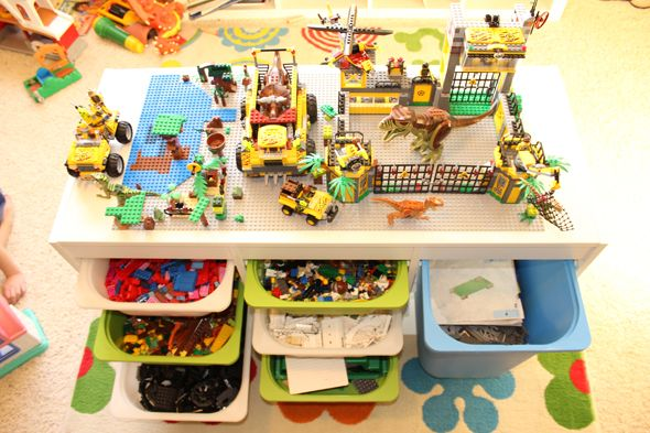We made a Lego table for the boys for Christmas based upon these pictures/instructions. It has been a MAJOR hit.
