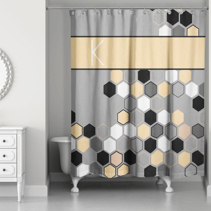 Honeycomb Shower Curtain In Grey Yellow Black Custom Shower