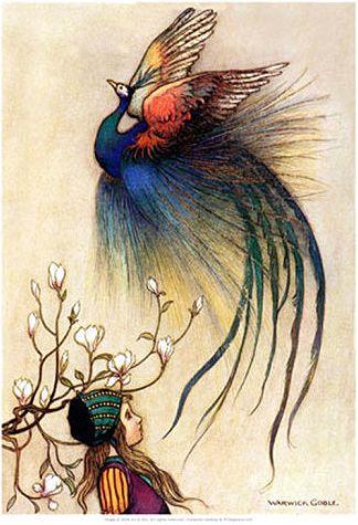 A peacock-like phoenix rising