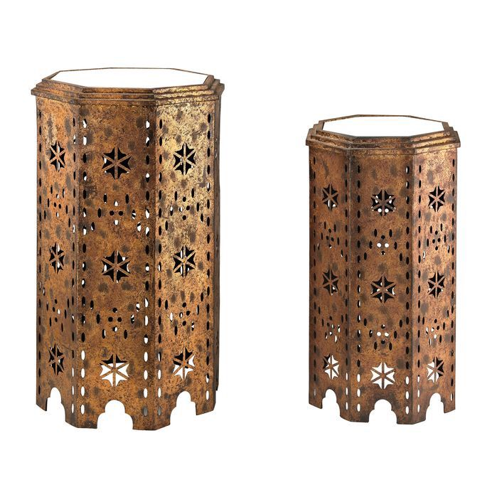 2 Piece Moroccan Side Table Set