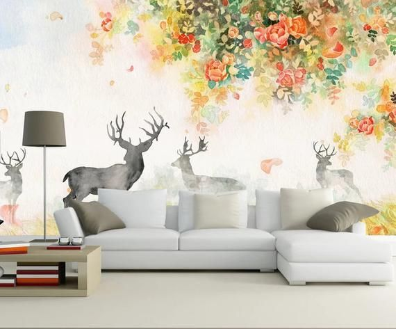3d Floral And Elk Removable Wallpaperpeel And Stick Wall Etsy Kids Wall Murals Nursery Wall Stickers Vintage Floral Wallpapers