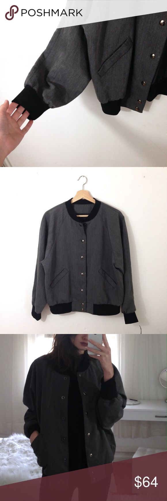 Grey Wool Bomber Jacket Adorable grey wool Bomber Jacket. Size M, snap buttons, two hip pockets. Black ribbed hem, sleeve cuffs, and neckline. Perfect condition. Gunmetal buttons Topshop Jackets & Coats