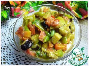 Овощи в сливочно-соевом соусе - балажаны, морковь, помидоры, перцы