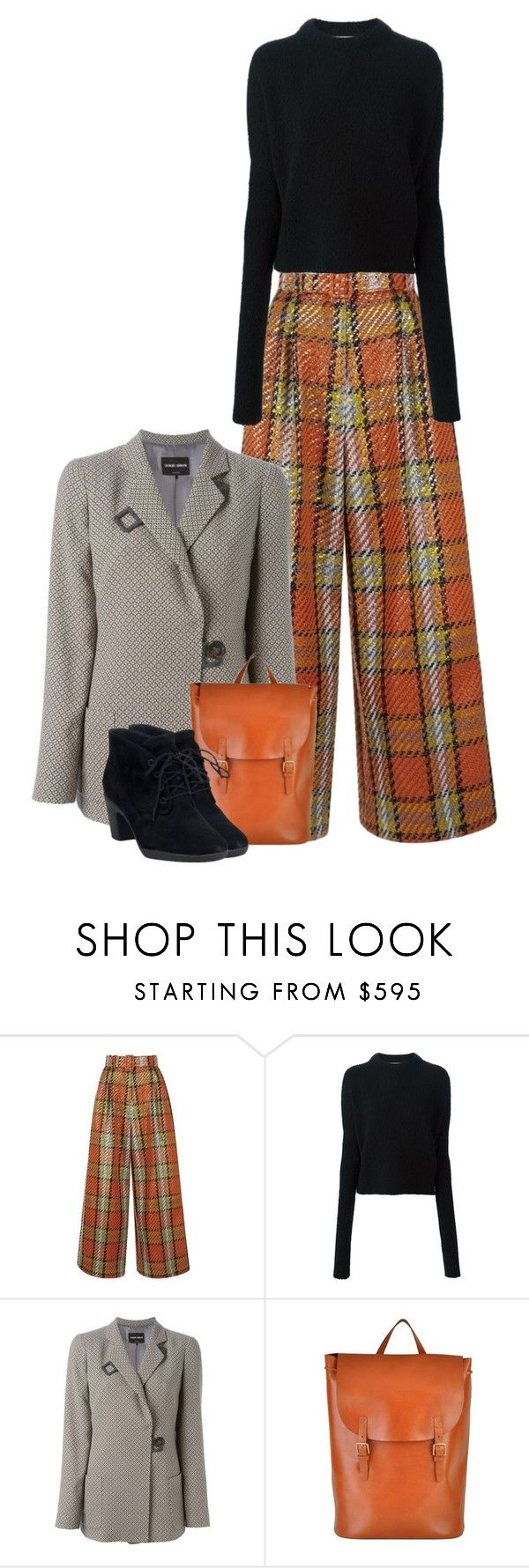 """Tartan"" by pepitarita ❤ liked on Polyvore featuring Emilia Wickstead, Victoria Beckham, Giorgio Armani and Clarks"