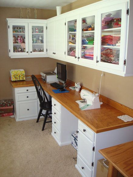 Really Neat Storage And Crafting E For Sewing Or Other Crafts I Love The Gl Fronted Cabinets Can See This In A Corner Of Large Kitchen Family