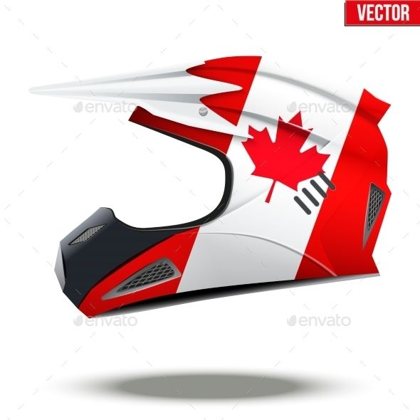 Canada Flag On Motorcycle Helmets by Batareykin Original Motorcycle Helmets with flag of Canada. Extreme enduro motocross style. Vector Illustration.