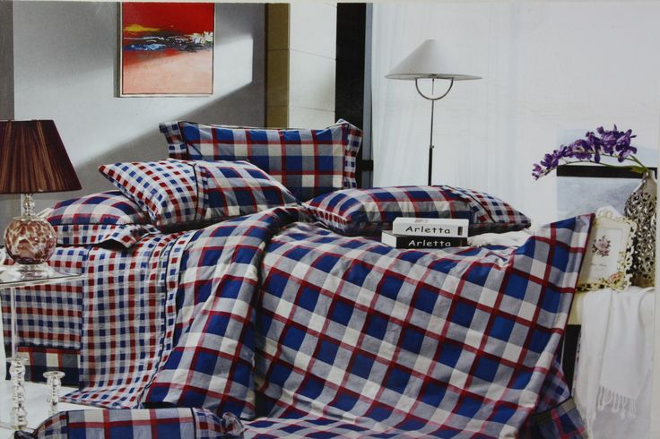 Truly inspired by rich combination of colors and Checks, this King Size(275*275cm) Bed Linen set will add just the right amount of pattern and interest to your bedroom. The combination of blue, red and grey color in checks, the smaller checks on its border makes this bed linen set even more classy.  This Bed Linen Set is great for use in any season and is absolutely skin friendly. Made of Fine Quality Cotton Fabric makes it easy to wash and dry at home for regular maintenance.
