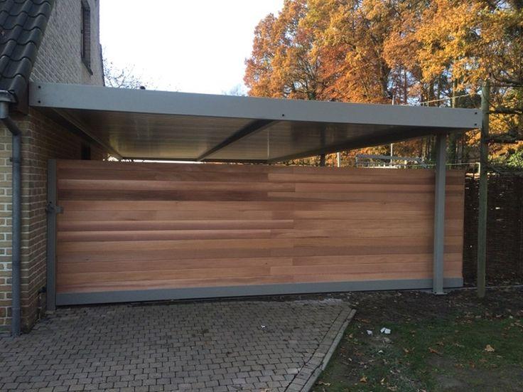 Houten schuifpoort in ceder | Metallooks