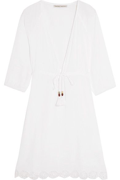 Heidi Klein - Ostuni Crochet-trimmed Cotton-blend Kaftan - White - small