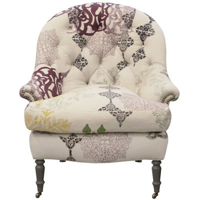 Planning on reupholstering a vintage chair to look more funky/contemporary...maybe something like this? [Deccan chair from John Robshaw]