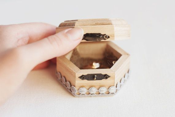 Small hexahedral rustic style wedding box by MissVintageWedding