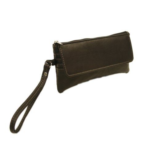 Women's Wristlet Handbags - Piel Leather FlapOver Wristlet Chocolate One Size -- Read more at the image link.