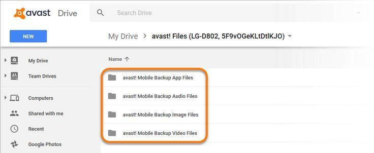 Avast! Mobile Backup Image Files folder