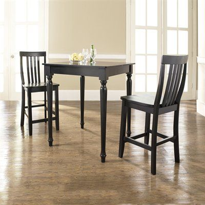 Crosley Furniture KD320011BK 3 Piece Pub Dining Set