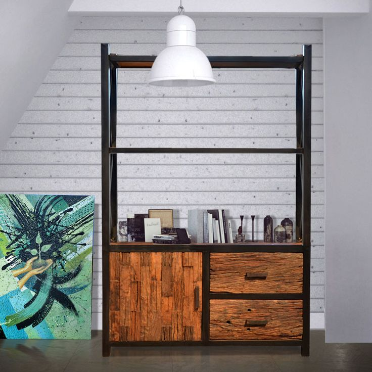 #bookrack #cabinet combination #metal and #rustic #wood #industrial #design #handmade by www.gabeart.com #picoftoday #furnituretoday #furniture #furniturebali #solidwood