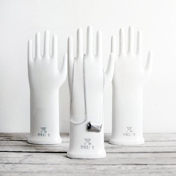 vintage porcelain glove mold by lacklusterco on Etsy, $44.00: Gloves Moldings, Antiques Stores, Porcelain Gloves, Vintage Porcelain, Vintage Wardrobe, Jewelry Stands, Rubber Gloves, Jewelry Holder, Vintage Hands
