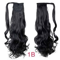 FREE Shipping 1 Piece 22inch #1B Heat Resistant Synthetic Wrap Around Ponytail Clip In Invisible Magic Hair Pieces Tail