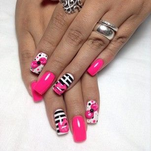 black, white, pink nail design