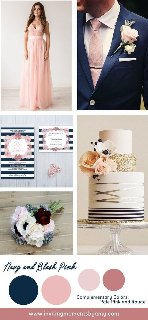 Navy blue is a timeless color to choose to use for your wedding day.  I recommend pairing it with a lighter hue like blush pink to balance it out.  Navy blue is also considered a neutral.  It's a great way to add a touch of color without feeling overwhelmed.  Like black, navy carries a sense of elegance.  Incorporating navy and blush would be a pretty easy task.  Look how lovely this blush bridesmaid dress by Dioriss looks next to this striking blue suit.  Then adding some accessories in…