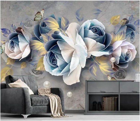 3d Embossed Rose European Retro Removable Fabric Wallpaper Peel And Stick Wall Self Adhesive Wallpaper Hand Painted Watercolor Rose Mural In 2021 Blue Roses Wallpaper Floral Wallpaper Rose Wallpaper