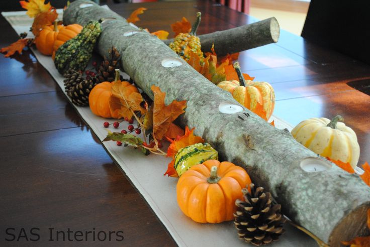 Autumn Log Centerpiece. Seriously how much cheaper can the base for a centerpiece be?!
