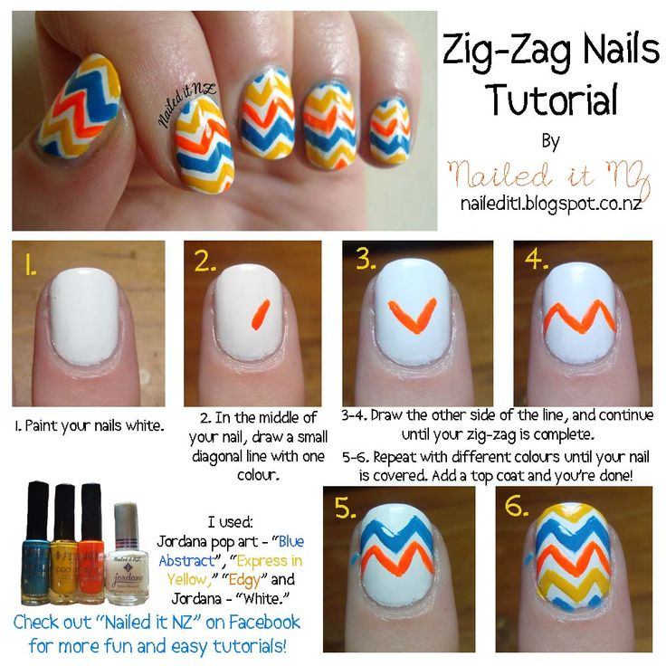 Nailed It NZ: Nail art for short nails #3 - Zig-Zag nails http://nailedit1.blogspot.com/2012/11/nail-art-for-short-nails-2-zig-zag-nails.html