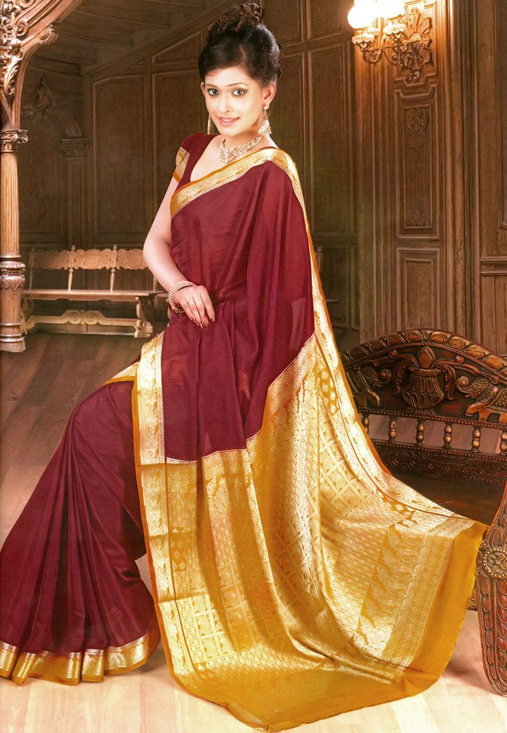#Maroon Faux #Crepe #Saree with Blouse http://www.shopcost.in/saree