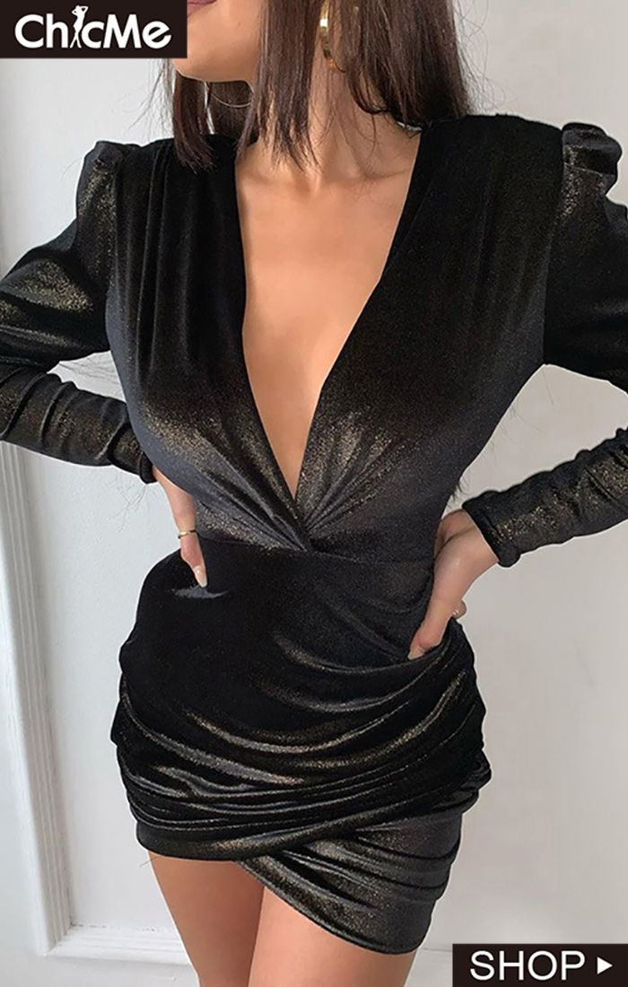 Glitter Plunge Ruched Bodycon Dress