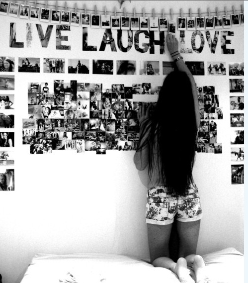 Great for a teen!  Like the photos hung with clothespins and cut-out letters.