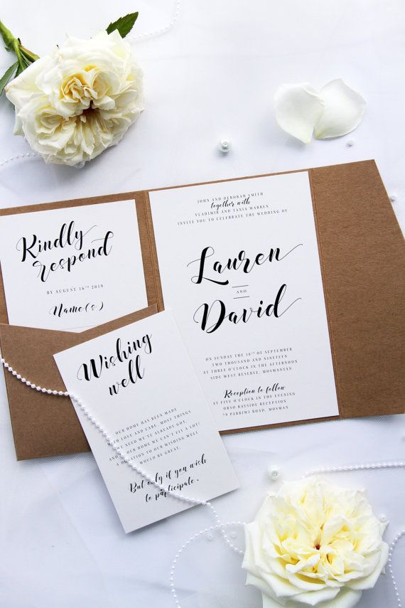Rustic Pocket Style Wedding Invitation Sets, Modern Calligraphy, Premium Kraft Paper