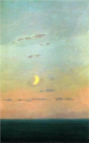 Crescent moon at sunset - Arkhip Kuindzhi 1908