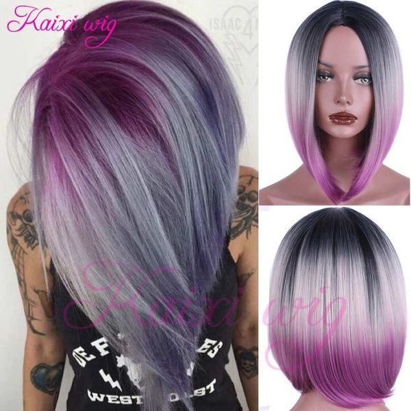 Synthetic Short Ombre Bob Wig Three Tone Colored Wig Ombre Hair Color Short Bob Wigs Short