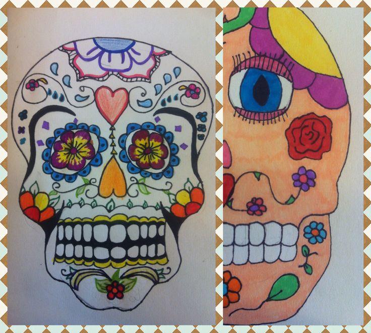 Extra opdrachtje, Mexicaanse schedel tekenen