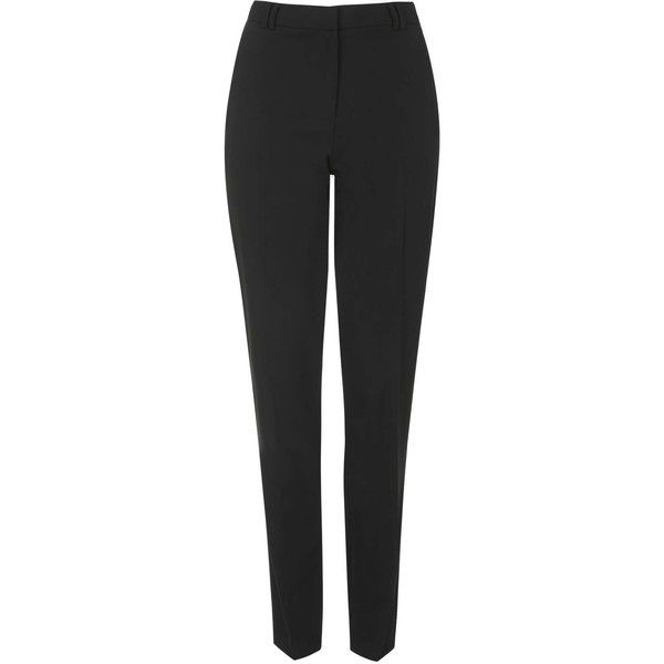 TOPSHOP TALL Cigarette Pants ($40) ❤ liked on Polyvore featuring pants, trousers, black, topshop, tall pants, topshop pants, black trousers and black pants