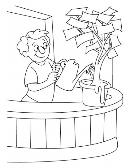 A boy giving water in the money plant coloring pages | Download Free A boy giving water in the money plant coloring pages for kids | Best Coloring Pages