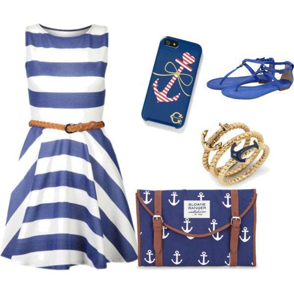 Nautical Anchor Purse  Silver Anchor Ring.  Nautical Blue  White Striped Dress.