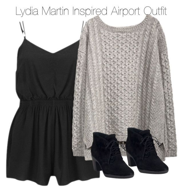 """Lydia Martin Inspired Airport Outfit"" by staystronng ❤ liked on Polyvore featuring MINKPINK, Clarks, travel, comfortable, LydiaMartin, airport and tw"