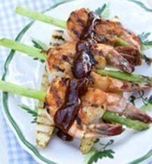 Grillede rejer med grønne asparges - Opskrift