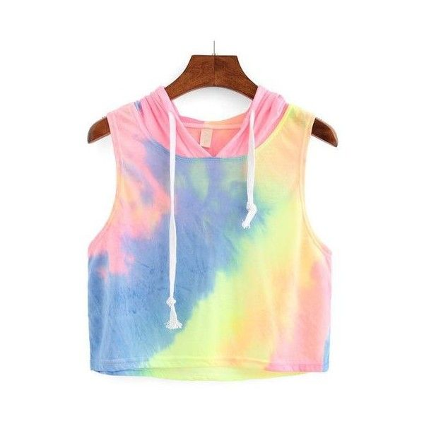 Rainbow Ombre Hooded Crop Top via Polyvore featuring tops, colorful crop tops, colorful vest, stretchy crop top, vest tops and crop top